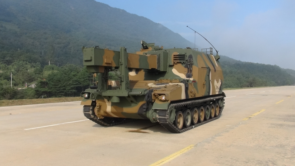 This file photo, provided by Hanwha Group, shows an ammunition-carrying armored vehicle. (PHOTO NOT FOR SALE) (Yonhap)