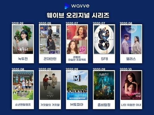 This image provided by Wavve shows a list of Wavve's original series. (PHOTO NOT FOR SALE) (Yonhap)