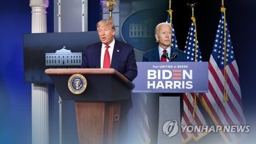 The image provided by Yonhap News TV shows U.S. President Donald Trump (L) and Democratic presidential candidate Joe Biden. American voters began hitting the polls on Nov. 3, 2020, to elect the next U.S. president. (Yonhap)