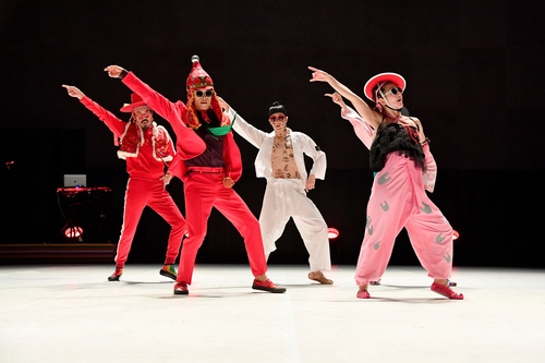 "This photo, provided by Ok Sang-hoon, shows the Ambiguous Dance Company performing ""Fever."" Kim Bo-ram, the group's artistic director, is seen on the left wearing a red track suit and a vest. (PHOTO NOT FOR SALE)"