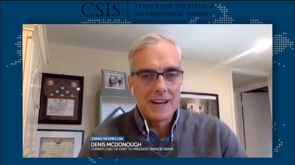 The captured image from the website of the Center for Strategic and International Studies shows former U.S. National Security Adviser Dennis McDonough speaking in a webinar hosted by the Washington-based think tank on Nov. 19, 2020. (Yonhap)