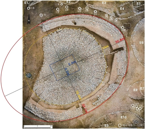 This photo, provided by the Gyeongju National Research Institute of Cultural Heritage on Dec. 7, 2020, shows the excavation site for Tomb No. 44 at Jjoksaem in Gyeongju, South Korea. (PHOTO NOT FOR SALE) (Yonhap)