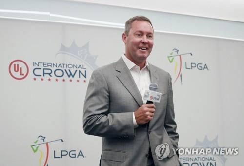 In this Getty Images file photo from July 2, 2018, LPGA Commissioner Mike Whan speaks during a press conference for the UL International Crown competition at the Underwriters Laboratories headquarters in Northbrook, Illinois. (Yonhap)