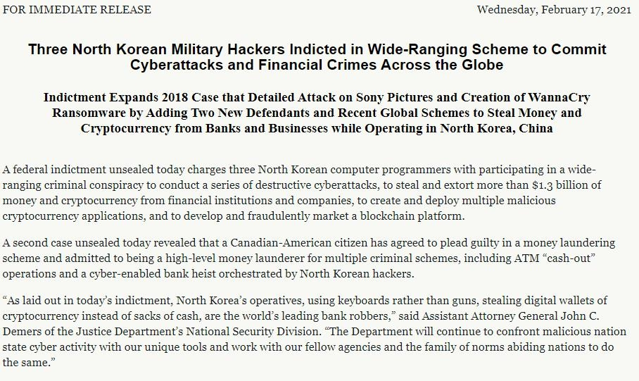 The captured image from the website of the U.S. Department of Justice shows a press release posted on Feb. 17, 2021, announcing an indictment of three North Korean hackers. (Yonhap)