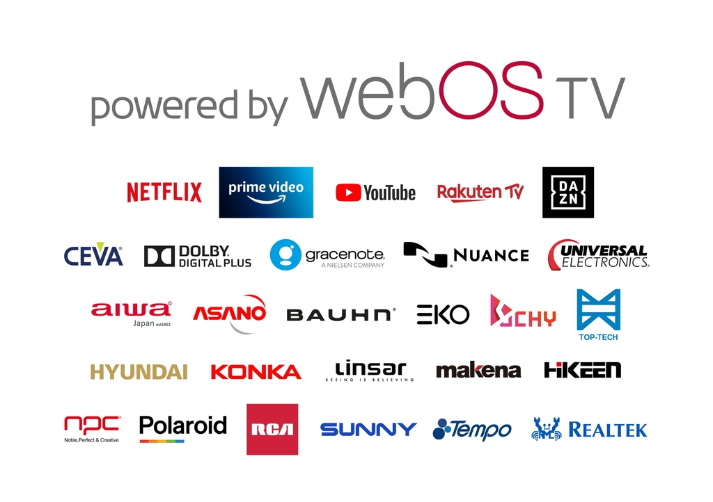 This image provided by LG Electronics Inc. on Feb. 24, 2021, shows logos of firms and services that support LG's webOS smart TV platform. (PHOTO NOT FOR SALE) (Yonhap)
