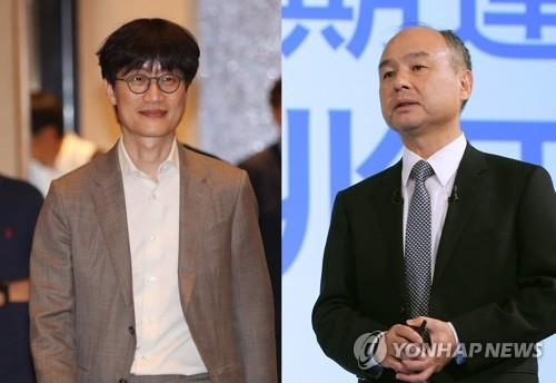 Naver founder Lee Hae-jin (L) and Softbank founder Masayoshi Son (R) are seen in this file photo. (Yonhap)