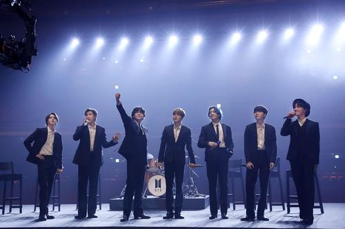 """This photo, provided by Big Hit Entertainment, shows BTS performing in """"Music On A Mission,"""" a virtual concert and fundraiser held on March 12, 2021 (U.S. time), ahead of the 63rd Grammy Awards. (PHOTO NOT FOR SALE) (Yonhap)"""