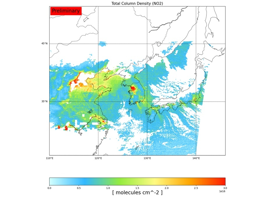 Nitrogen dioxide concentration levels across East Asia, based on data collected by Chollian-2B on Feb. 9, 2021, are shown in this image provided by the Ministry of Science and ICT on March 21, 2021. (PHOTO NOT FOR SALE) (Yonhap)