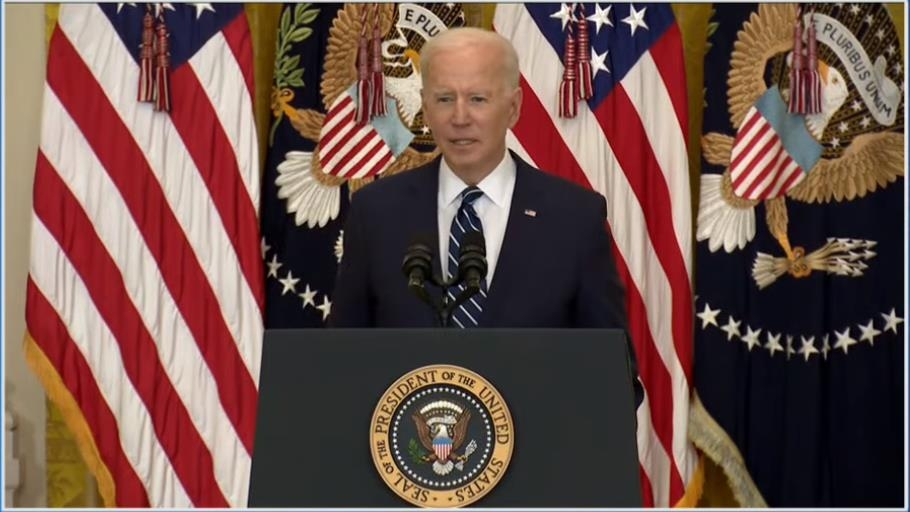 The captured image from the website of the White House shows President Joe Biden answering questions in a press conference at the White House in Washington on March 25, 2021. (Yonhap)