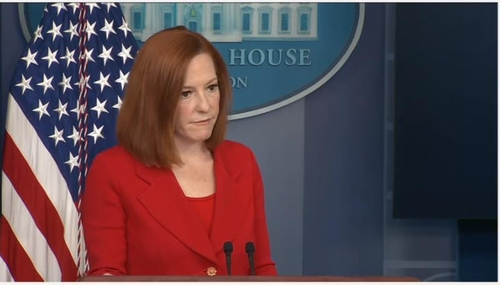 This image captured from a White House Youtube channel shows spokeswoman Jen Psaki answering questions at a daily press briefing at the White House in Washington on April 12, 2021. (PHOTO NOT FOR SALE) (Yonhap)