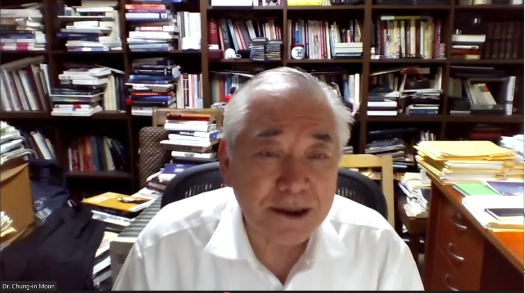 The captured image shows Moon Chung-in, a former professor of Seoul's Yonsei University and former special adviser to South Korean President Moon Jae-in for unification and national security, speaking in a webinar jointly hosted by the Washington-based National Committee on North Korea and Seoul-based East Asia Foundation on June 16, 2021. (Yonhap)