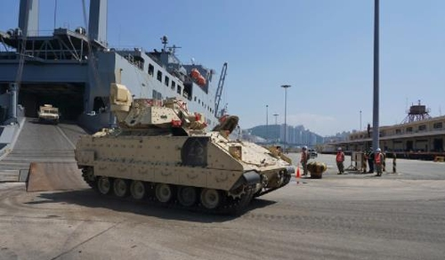 A combat vehicle of the U.S. 3rd Armored Bulldog Brigade Combat Team of the 1st Armored Division, arrives in South Korea's southern port city of Busan, in this undated photo provided by the U.S. Forces Korea on June 19, 2021. (PHOTO NOT FOR SALE) (Yonhap)