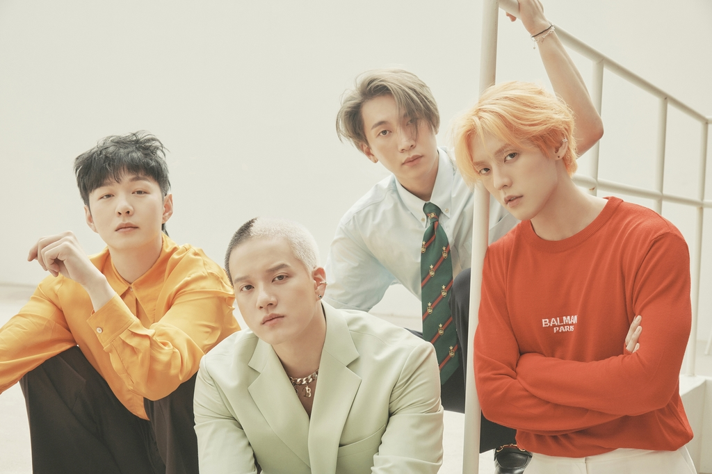 """This photo, provided by Cube Entertainment, shows BTOB in the """"Awake"""" version of a teaser image for its new album """"[4U : OUTSIDE]."""" (PHOTO NOT FOR SALE) (Yonhap)"""