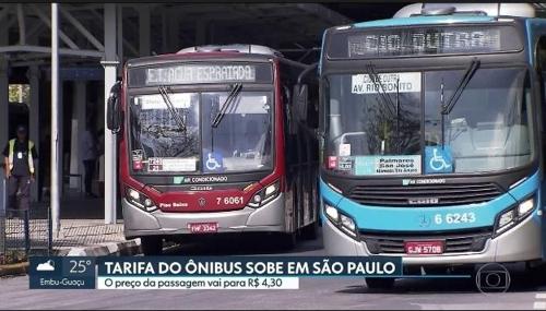 상파울루 시내버스 요금 인상 소식을 알리는 TV 방송 [브라질 뉴스포털 G1]