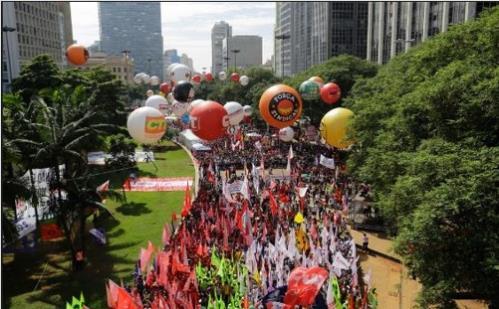 지난 5월 1일 상파울루 시에서 벌어진 노동절 기념행사 [브라질 뉴스포털 G1]