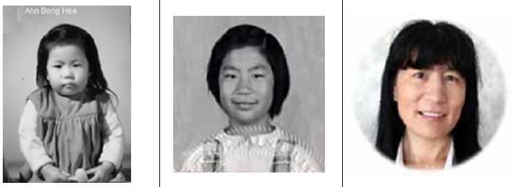 안봉희 입양 당시 모습(왼쪽부터)과 시민권 취득당시, 현재 모습