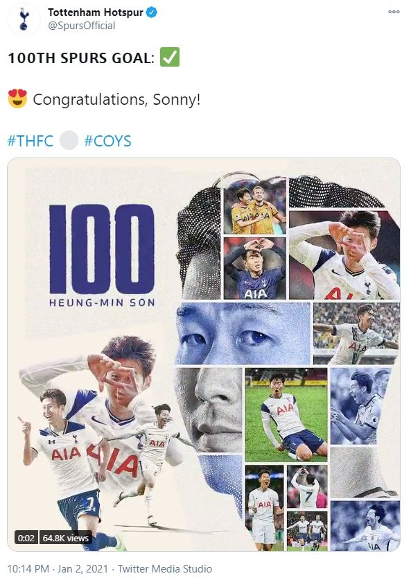 '손흥 민, 100 골 축하해!'  골든 타워 달성에 쏟아지는 축하 릴레이