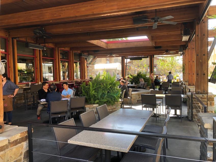 (샌프란시스코=연합뉴스) 정성호 특파원 = 19일 오후(현지시간) 미 캘리포니아 쿠퍼티노 중심가의 식당 겸 술집 레이지독의 야외 파티오 모습. 식사 시간을 넘긴 시간인데도 손님들이 여럿 앉아 있다.