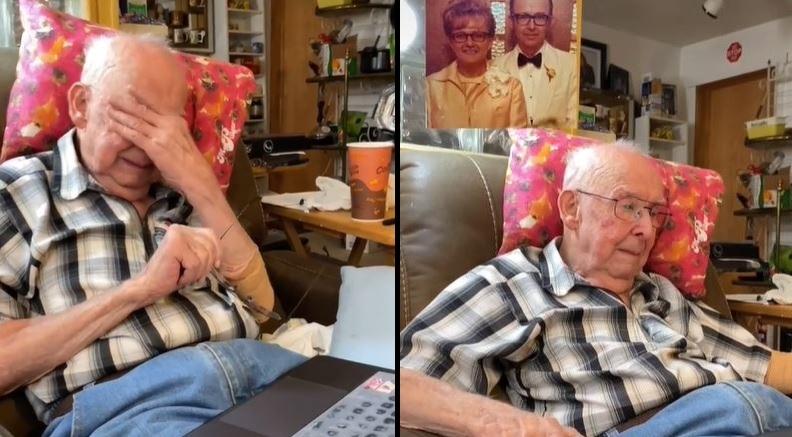 AI 기술로 재현한 아내의 영상을 보고 눈물을 흘리는 제이크 라슨