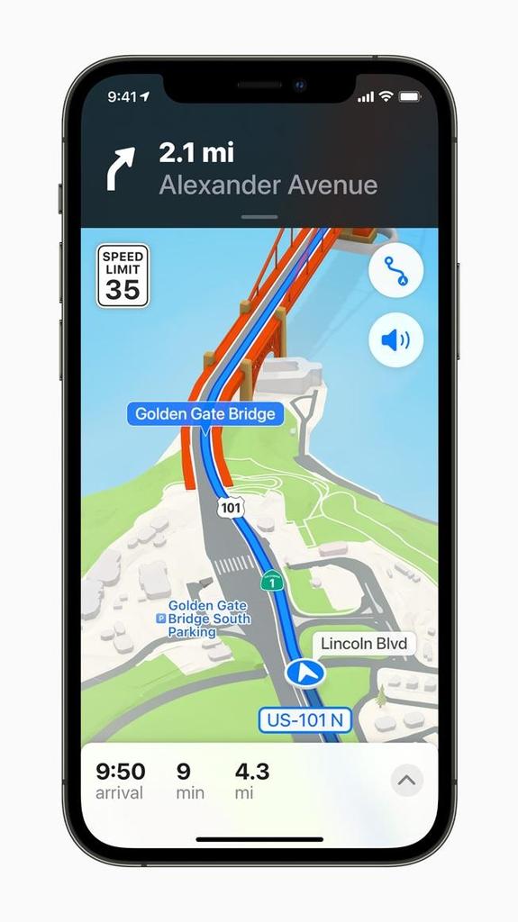 입체적 3차원 지도로 개편될 애플 지도. [애플 제공=연합뉴스]