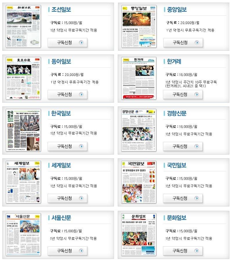 한국 신문 구독료