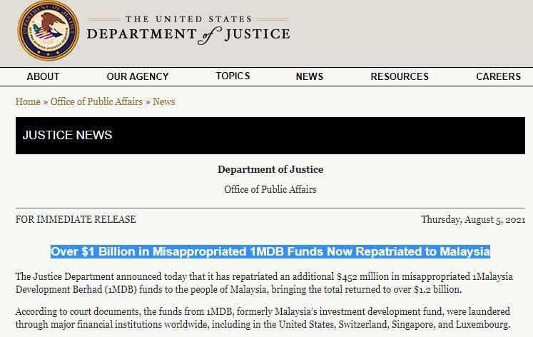 """미법무부 """"1MDB 유용자금 10억 달러 이상 말레이에 돌려줘"""""""