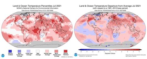 지난달 지구 표면온도 측정치. 빨간색이 진할수록 표면온도가 20세기 평균보다 높았다는 의미다. [미국 해양대기청(NOAA) 제공=연합뉴스. 재판매 및 DB금지]