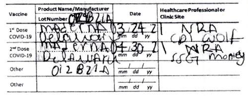 'Maderna'라고 적힌 가짜 백신접종 증명서.