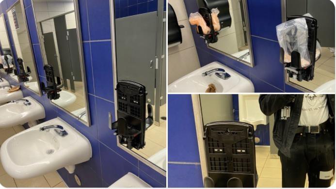 손세척제 분사기가 모두 없어진 미국의 한 학교 화장실