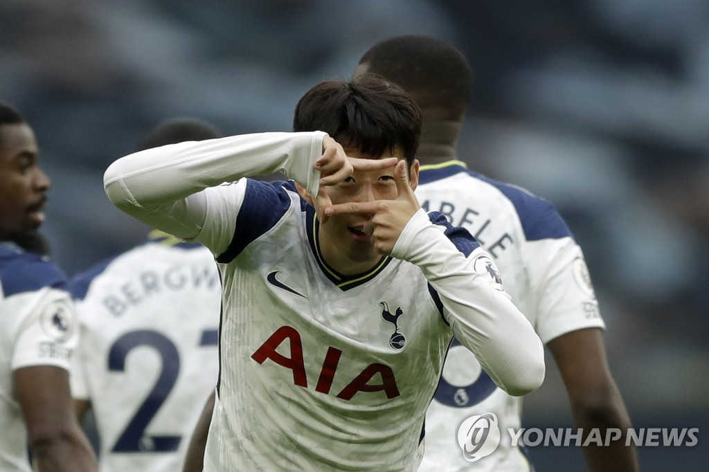 In this Associated Press photo, Son Heung-min of Tottenham Hotspur celebrates his goal against West Ham United during a Premier League match at Tottenham Hotspur Stadium in London on Oct. 18, 2020. (Yonhap)