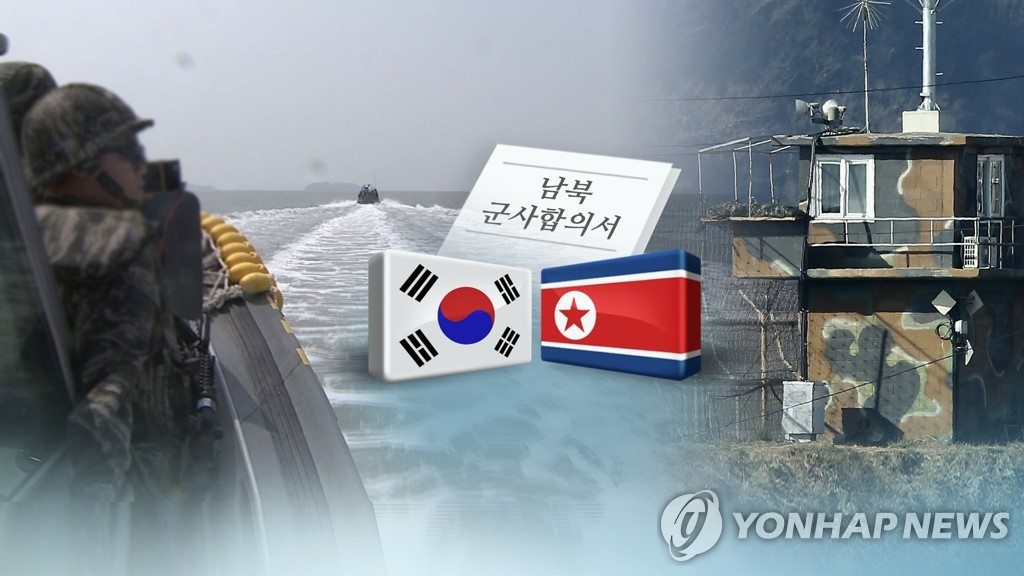 This image, provided by Yonhap News TV, depicts an inter-Korean military accord aimed at reducing border tensions and building trust. (Yonhap)