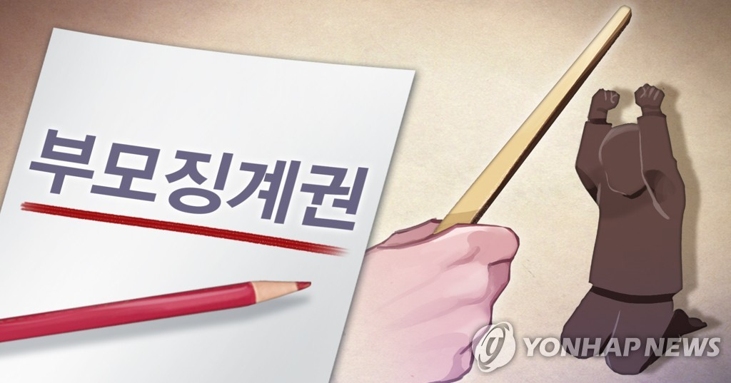 An illustration depicting Article 915 of South Korea's Civil Act, which stipulates that parents may take necessary disciplinary action to protect or educate their children. (Yonhap)