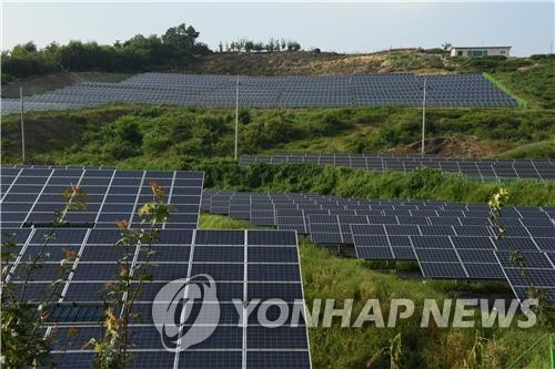 This photo, provided by the Korea Forest Service on Aug. 7, 2020, shows solar panel facilities set up on a mountain. (PHOTO NOT FOR SALE) (Yonhap)