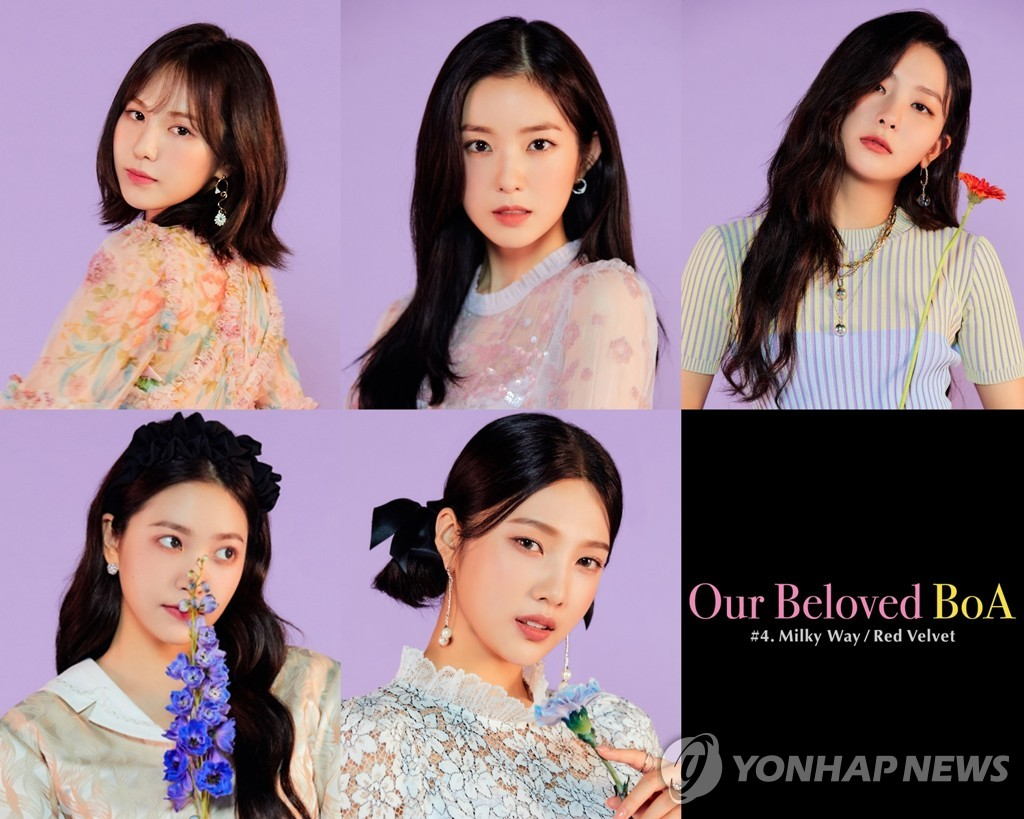This composite image, provided by SM Entertainment, shows girl group Red Velvet in a promotional image for a compilation album for K-pop soloist BoA. (PHOTO NOT FOR SALE) (Yonhap)