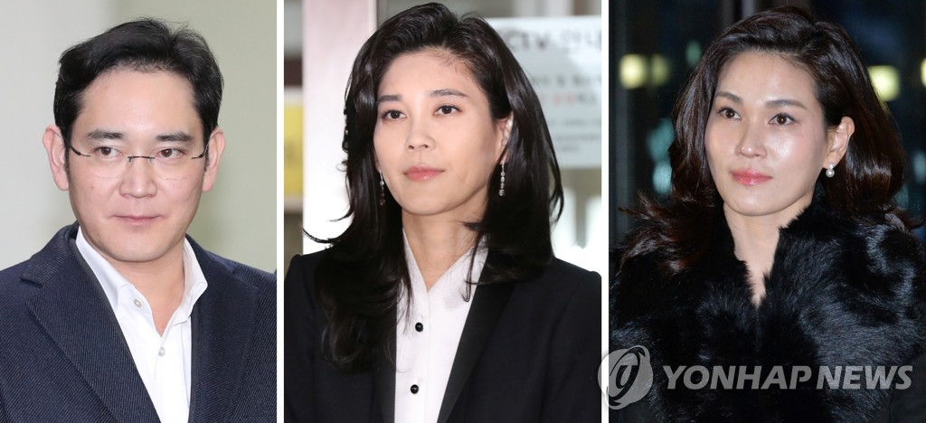 This composite photo shows heirs of Samsung Group. From left to right are Samsung Electronics Vice Chairman Lee Jae-yong, Hotel Shilla CEO Lee Boo-jin and Samsung Welfare Foundation chief Lee Seo-hyun. (Yonhap)