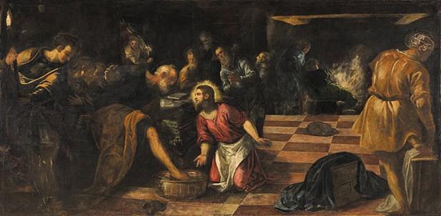 틴토레토가 그린 '제자들의 발을 닦아주시는 그리스도'