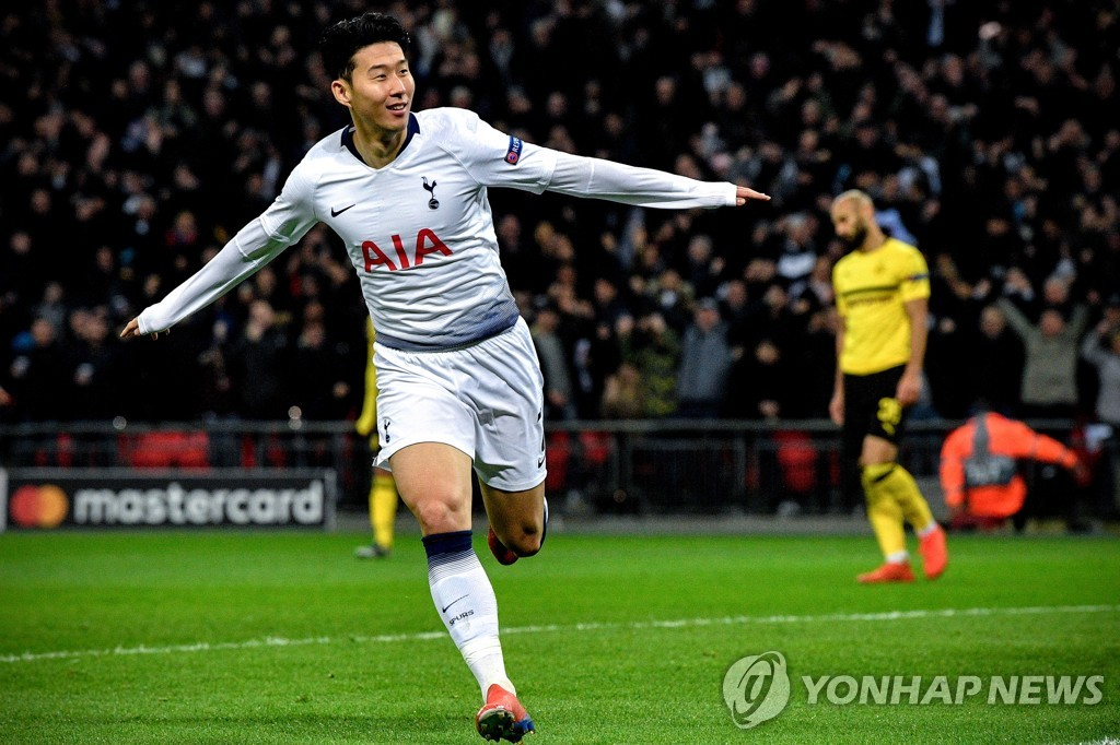 In this EPA photo, Son Heung-min of Tottenham Hotspur celebrates his goal against Borussia Dortmund during their UEFA Champions League round of 16 match at Wembley Stadium in London on Feb. 13, 2019. (Yonhap)