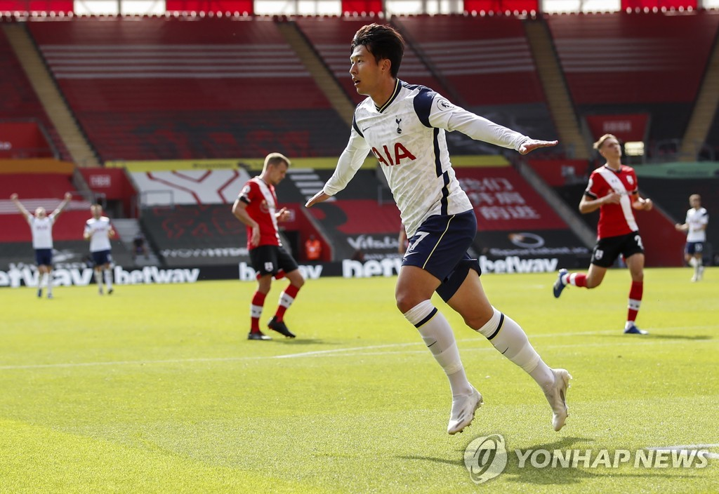 In this EPA photo, Son Heung-min of Tottenham Hotspur celebrates one of his four goals against Southampton during a Premier League match at St Mary's Stadium in Southampton, England, on Sept. 20, 2020. (Yonhap)