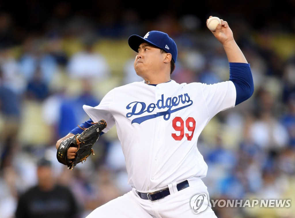In this Getty Images photo, Ryu Hyun-jin of the Los Angeles Dodgers delivers a pitch against the Miami Marlins in the top of the second inning of a Major League Baseball regular season game at Dodger Stadium in Los Angeles on July 19, 2019. (Yonhap)
