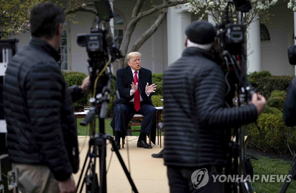 This UPI photo shows U.S. President Donald Trump speaking during a Fox News Virtual Town Hall on the coronavirus in the Rose Garden of the White House on March, 24, 2020. (Yonhap)