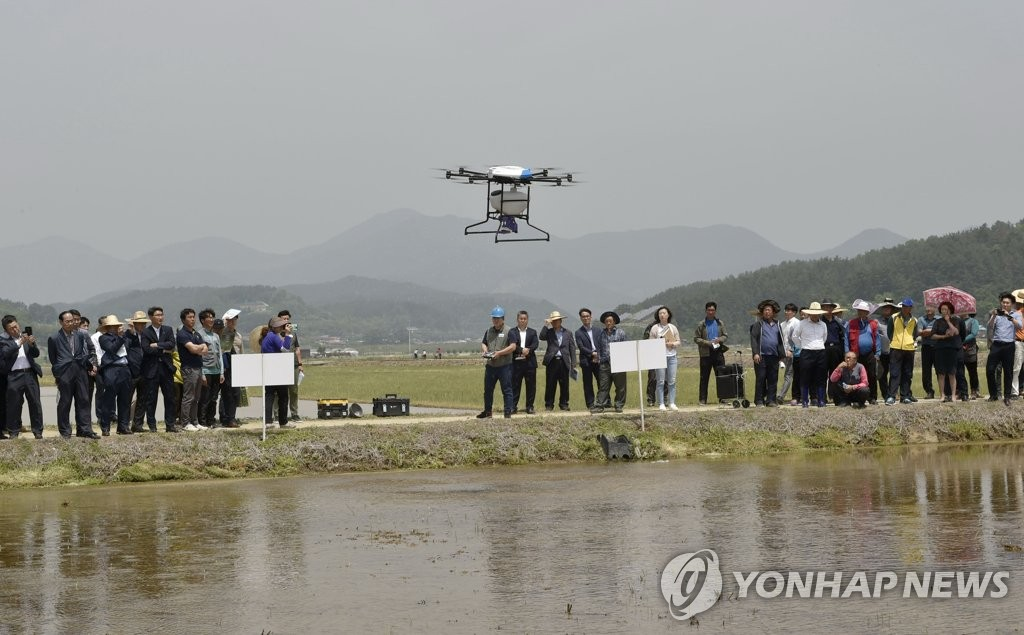 Drone sowing rice seeds | Yonhap News Agency