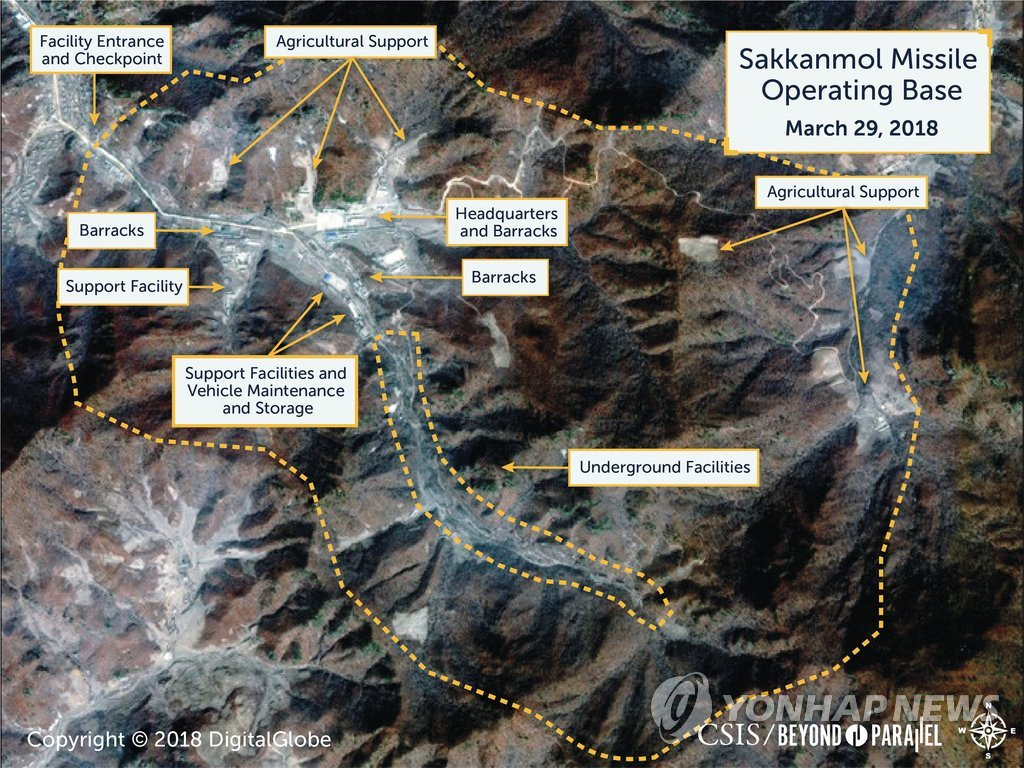 A satellite photo, taken by DigitalGlobe on March 28, 2018, and provided by Reuters, shows the Sakkanmol missile operation base in North Korea. (Yonhap)