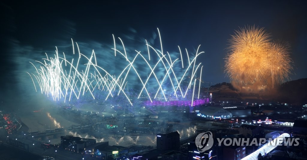 In this file photo from Feb. 9, 2018, fireworks go off during the opening ceremony of the PyeongChang Winter Olympics at PyeongChang Olympic Stadium in PyeongChang, 180 kilometers east of Seoul. (Yonhap)