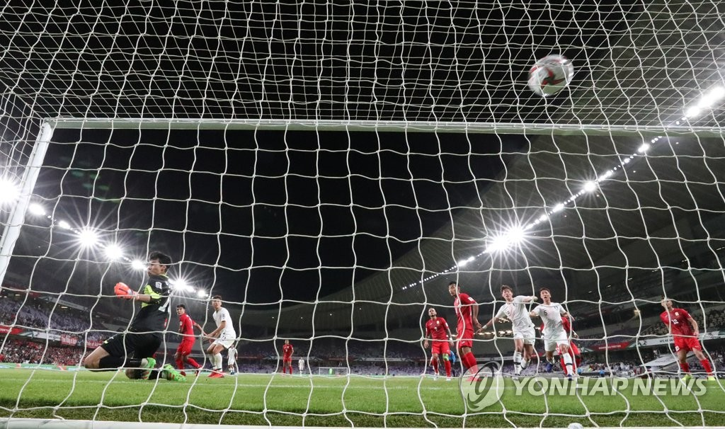 South Korea score against Kyrgyzstan with a header by Kim Min-jae in their Group C match at the Asian Football Confederation Asian Cup at Hazza Bin Zayed Stadium in Al Ain, the United Arab Emirates, on Jan. 11, 2019. (Yonhap)