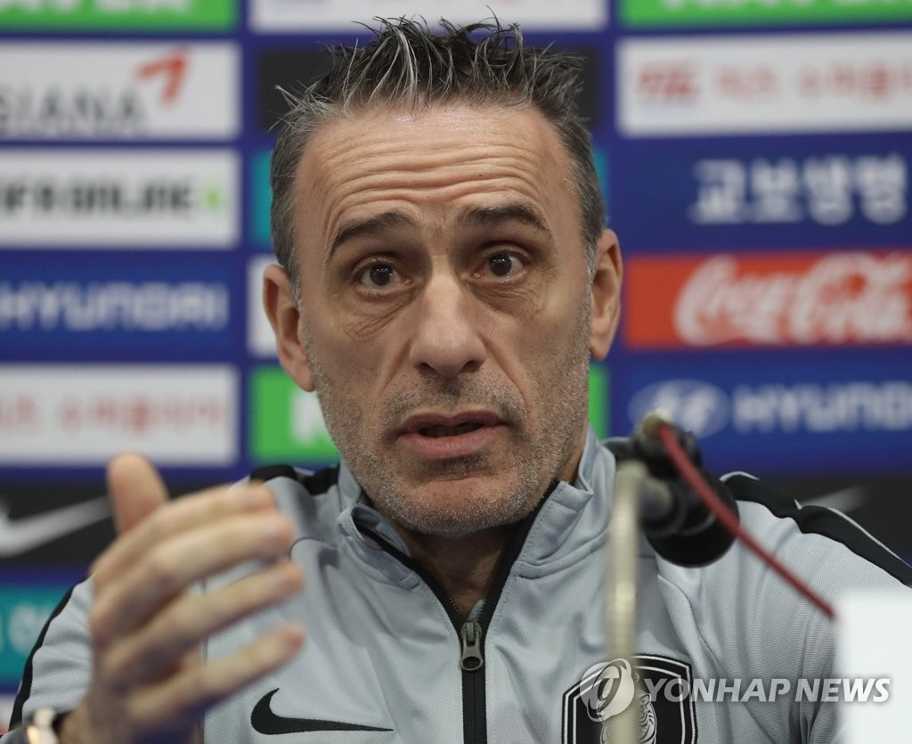 South Korea national football team head coach Paulo Bento speaks to reporters at Munsu Football Stadium in Ulsan on March 21, 2019, one day ahead of his team's friendly match against Bolivia. (Yonhap)