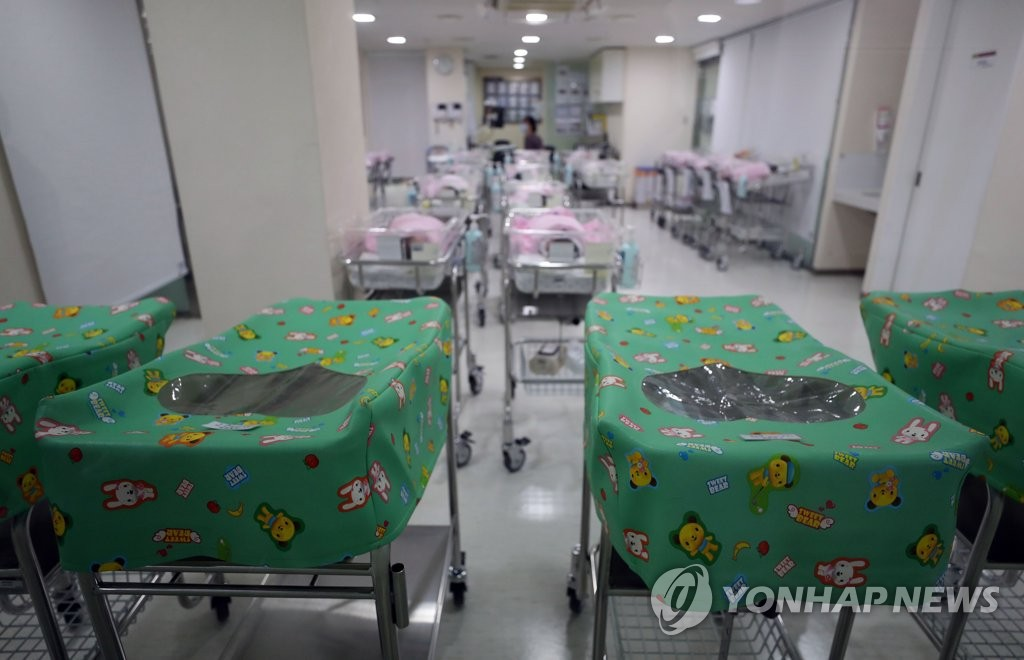 This photo, taken on March 28, 2019, shows a newborn baby unit at a Seoul hospital. (Yonhap)