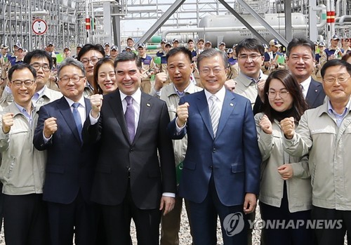 (LEAD) S. Korean president hopes for continued joint projects with Turkmenistan