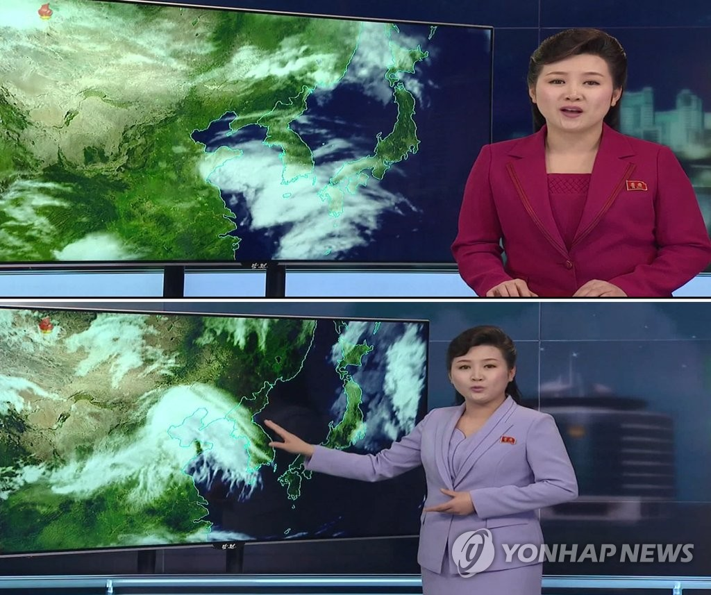 This composite picture, filed on April 29, 2019, shows a change in the weather forecast by North Korea's state television station, Korea Central TV. The weathercaster is standing and uses a soft hand gesture in the photo at bottom, a contrast to the previous version pictured at top in which she appeared seated in a more traditional way. (Yonhap) (For Use Only in the Republic of Korea. No Redistribution)
