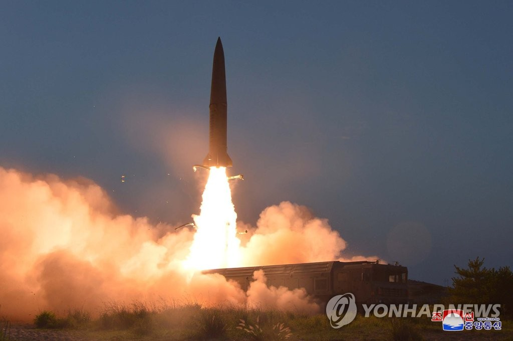 This photo, released by the Korean Central News Agency (KCNA) on July 26, 2019, shows a short-range ballistic missile launched from the Hodo Peninsula near the North's eastern coastal town of Wonsan the previous day. (For Use Only in the Republic of Korea. No Redistribution) (Yonhap)