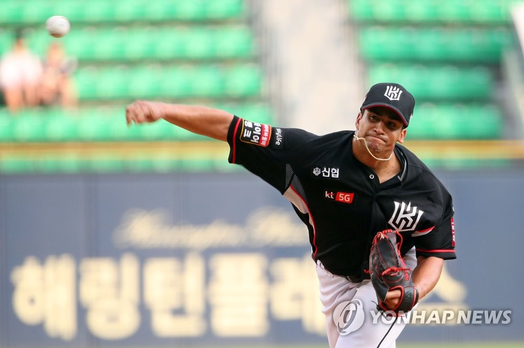 In this file photo from Aug. 9, 2019, William Cuevas of the KT Wiz pitches against the Doosan Bears in a Korea Baseball Organization regular season game at Jamsil Stadium in Seoul. (Yonhap)